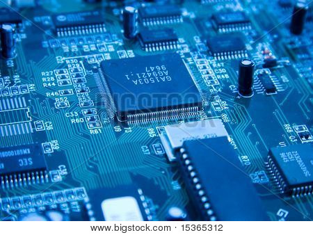 Chip de computadora. Con tinte azul.