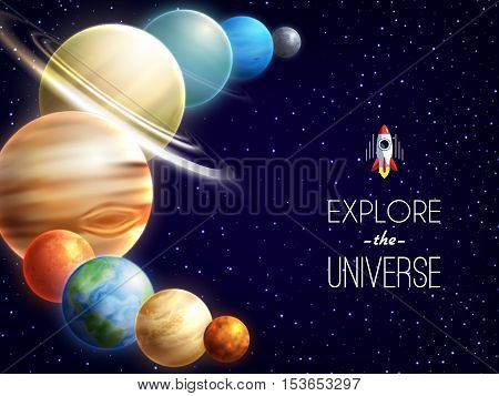 Solar system realistic background with space and galaxy symbols vector illustration