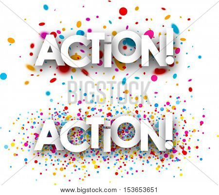 Action paper banners set with color drops, French. Vector illustration.