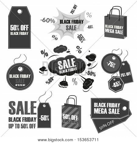 Black friday vintage sale tag labels set. Winter sale tag price discount design business icon. Christmas sale tag promotion retail sign advertising. New year sale tag black friday logo vector.