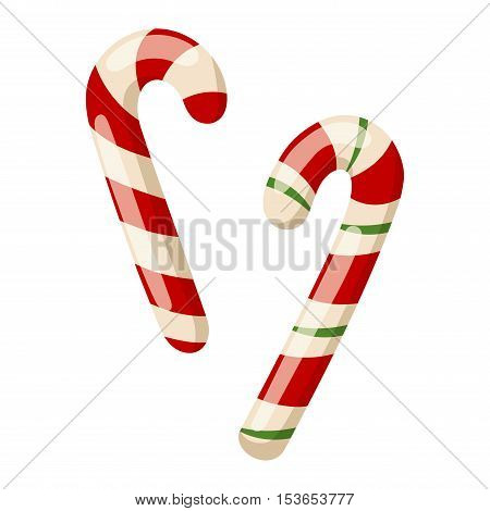 Lollipop sweet food vector illustration. Colorful candy canes isolated on white vector illustration.