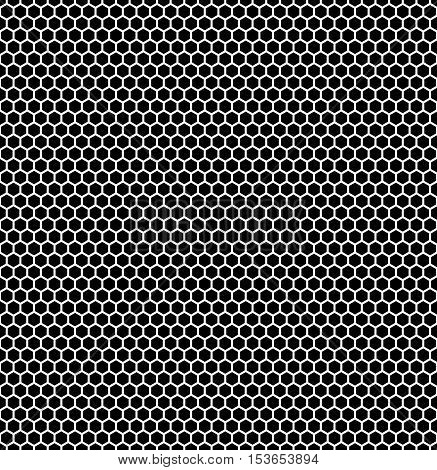 Seamless hexagonal background in black with white borders. Vector illustration.
