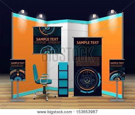 Exhibition stand design with booth display billboards shelves and chair in digital style isolated vector illustration
