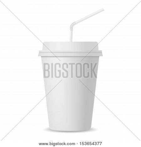 Realistic paper cup with straw mockup on white background