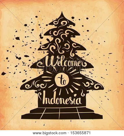 A poster on aged paper. Travel to Indonesia. An Asian country. Vector illustration