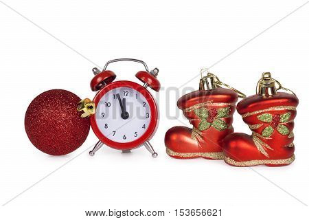 Christmas toys and alarm isolated on white background
