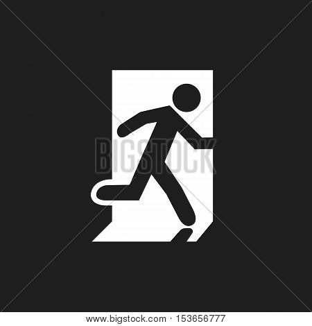 Icon emergency exit. Human Symbol running out of the building.