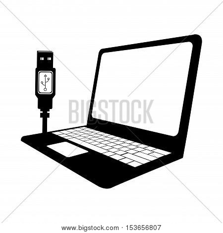laptop computer with usb cable icon image vector illustration design