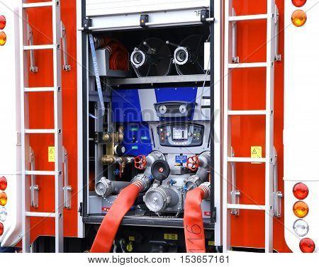 fireman fire truck water supply pressure control pump compressor closeup