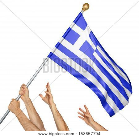 Team of peoples hands raising the Greece national flag, 3D rendering isolated on white background