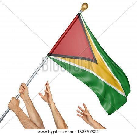 Team of peoples hands raising the Guyana national flag, 3D rendering isolated on white background