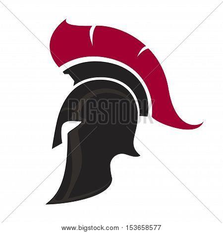 Spartan Helmet silhouette Greek warrior - Gladiator legionnaire heroic soldier. vector