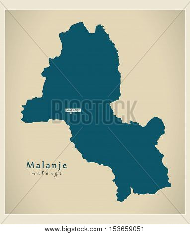 Modern Map - Malanje AO Angola vector