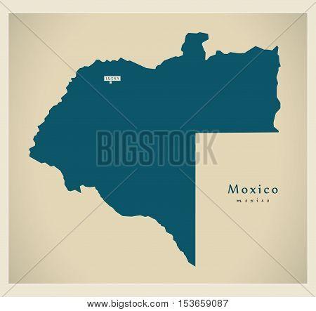 Modern Map - Moxico AO Angola vector
