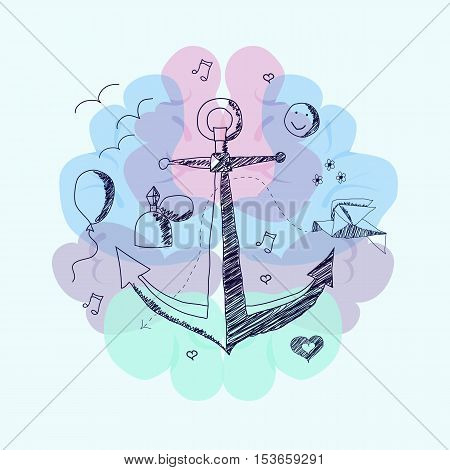 Vector illustration on which the concept of anchoring effect , used in psychology.Imitation painting ballpoint pen.