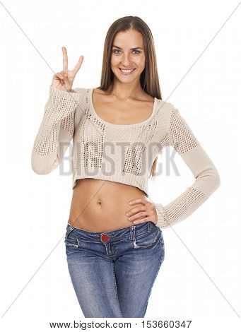 Young smiling brunette woman showing victory or peace sign, isolated on white background