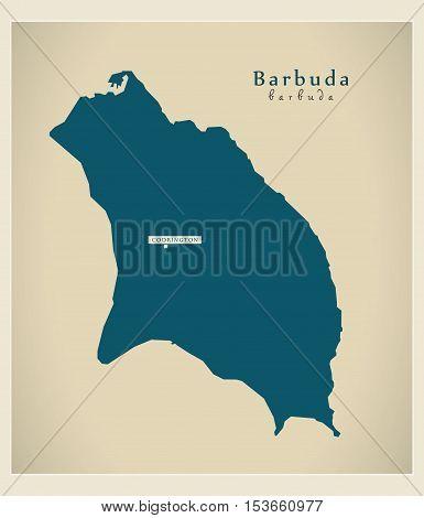 Modern Map - Barbuda AG Antigua and Barbuda vector