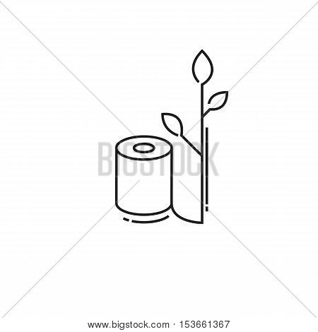 Environmentally friendly roll of toilet paper. modern icon of thin lines roll of toilet paper isolated on white background