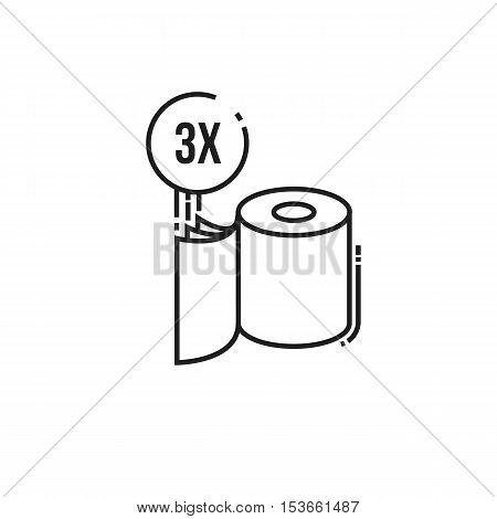 Three-ply toilet paper icon. modern icon of thin lines roll of toilet paper isolated on white background