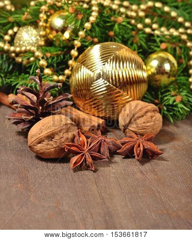 Different Kinds Of Spices, Nuts, Cone And Christmas Decorations And Spruce Branch
