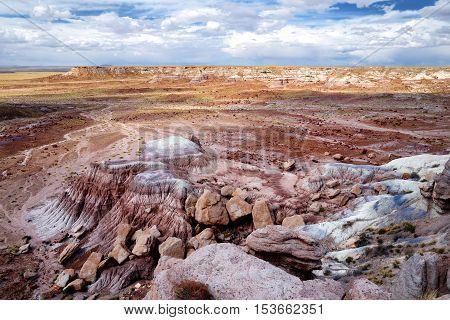 Striped Purple Sandstone Formations Of Blue Mesa Badlands In Petrified Forest National Park