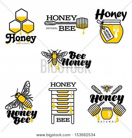 Bee, honey, apiary logo set, sketch style vector illustrations isolated on white background. Hand-drawn bee, hive, honey jar and dipper logos for honey products, labels, bee farms and apiaries