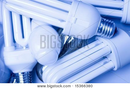 Fluorescent lamps. Light blue tint.