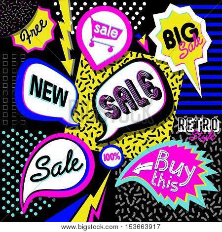 Sale poster 80' style with geometric shapes. 100% Super big Sale vector eighties illustration. Vector background in retro style easy editable for Your design.