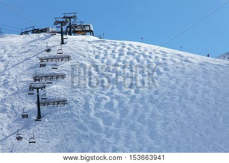 Skiing on the dolomites Val di Fiemme Italy.