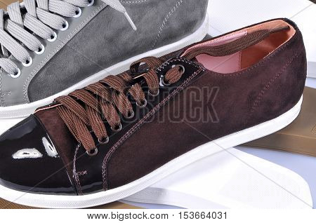 Detail of a pair of luxurious leather shoes. Handmade Shoes