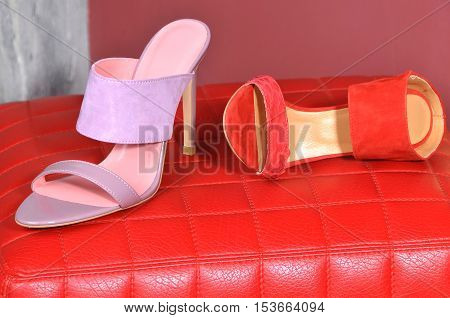 Women's Shoes. Lady leather handmade shoes. stylish sandals heels