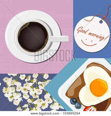 Breakfast with the wishes of good morning. Collage scrambled eggs coffee flowers. Vector