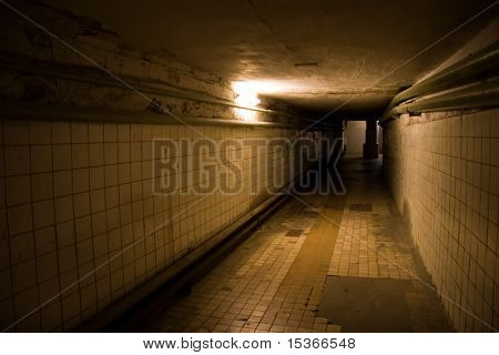 Dark deserted underground tunnel with only one light.
