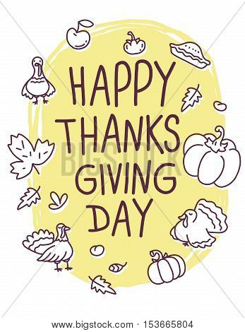 Vector Thanksgiving Illustration With Turkey Bird, Vegetables, Leaves And Text Happy Thanksgiving Da
