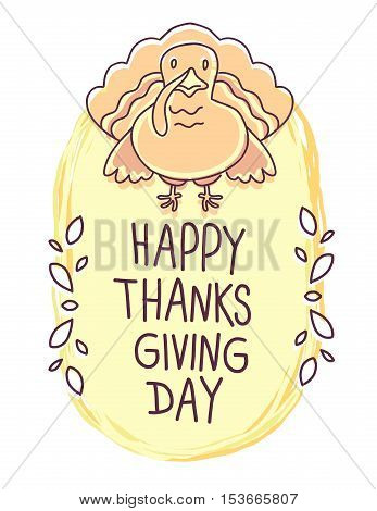 Vector Thanksgiving Illustration With Orange Turkey Bird And Text Happy Thanksgiving Day On White Ba