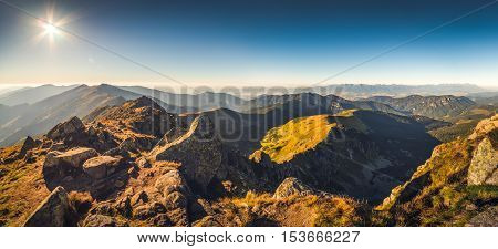Mountain Landscape in the Evening. View from Mount Dumbier in Low Tatras National Park Slovakia.