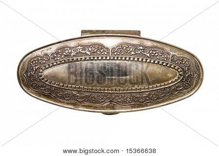 Antique iron casket. Top view. Isolated on white.