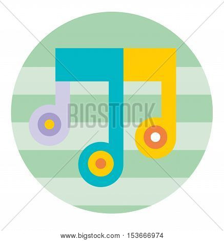 Multicolored Music Note in Striped Circle Stylized Symbol