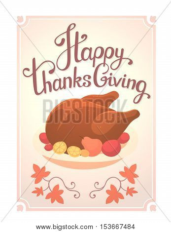Vector Thanksgiving Illustration With Deep Fried Turkey And Text Happy Thanksgiving In Frame On Whit