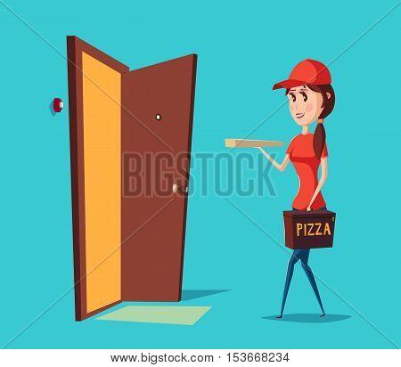 Girl worker in cap delivering pizza to door.