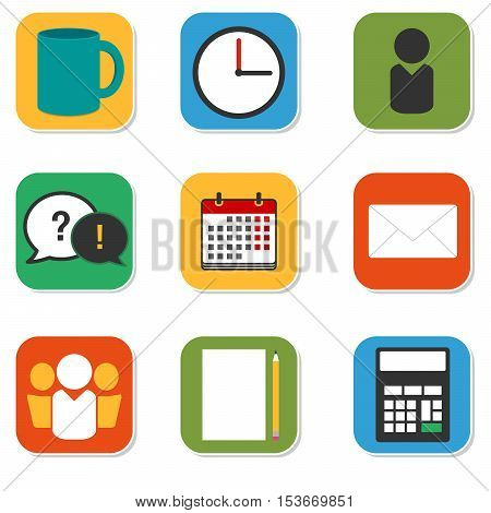 Vector icons set: working days. Modern flat collection with daily office routine items. Square icons: cup, clock, calendar, communication, envelope, calculator, paper with a pencil, man, teamwork.