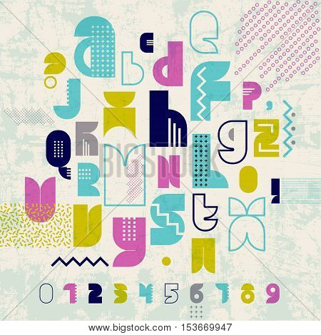 80S Retro alphabet font banner. Vintage Alphabet vector Old style graphic poster. Old style graphic template.
