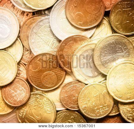 Glittering euro cent coins. Soft focus.