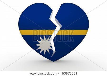 Broken White Heart Shape With Nauru Flag