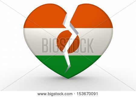 Broken White Heart Shape With Niger Flag