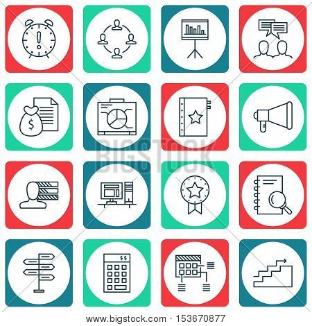 Set Of Project Management Icons On Warranty, Growth And Opportunity Topics. Editable Vector Illustra