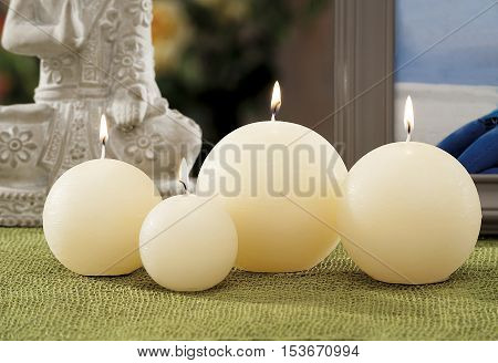 Still Life At Home Of Lighting Candles