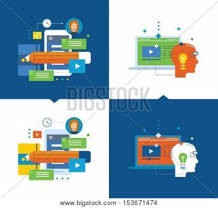 Concept of illustration - modern education and distance learning, planning and communication, training videos, vision tutorial. Vector illustrations on a light and dark background.