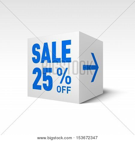 Cube Banner Template. Twenty-five Percent off Discount