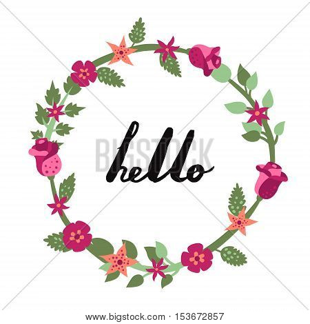 Hello ink handwritten lettering illustration with floral circle frame. Part one.